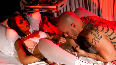 Nurse skin diamond gets anus infiltrate by her patient.
